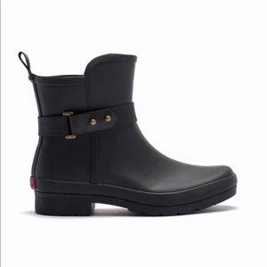 NWT! chooka Sidewalk Rain Bootie Black Rubber Boot